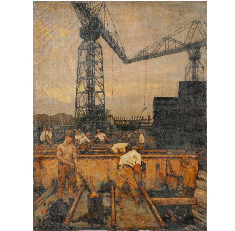 The Paintings by Yoshida Hiroshi on Harima Shipyard (tentative)